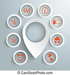 White Location Marker 8 Circles With Icons - Infographic...