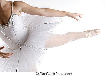 white tutu - dancer in a white tutu on a white background