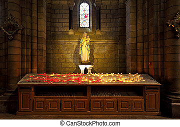 Virgin Mary with baby Jesus statue inside cathedral in...