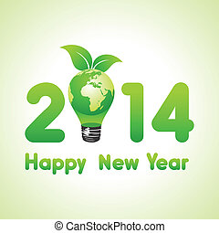 Creative new year with eco earth,2014 stock vector