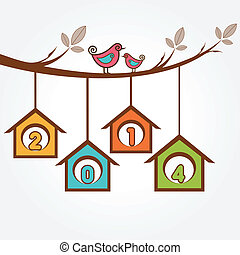 2014 with birds sit on branch-