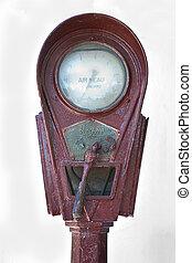 Air pump device - Detail of a white rusty old air pump in...