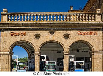Old vintage gas station - Old vintage gas petrol station,...