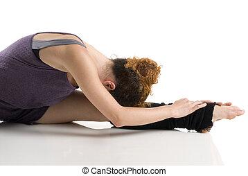 dancer stretching - a moder dancer in a classic pose