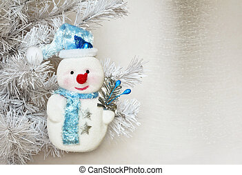 Snowman - Funny new year symbol of the New year snowman on a...
