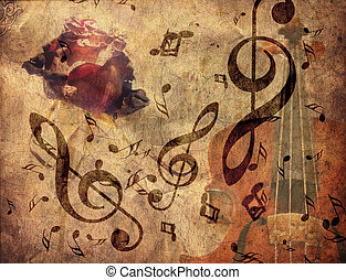 Grunge rose and vioilin - Abstract grunge rose, violin and...