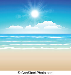 Sand sea sky - Seascape vector illustration. Paradise beach.