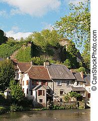 Segur le Chateau village and Auvezere river, France - Segur...