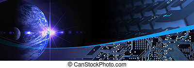 Technology Banner - Electronic communication banner Computer...