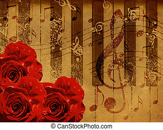 Music roses and piano background - Abstract grunge rose and...