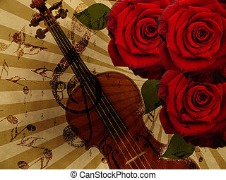 Music roses and violin background - Abstract grunge rose and...