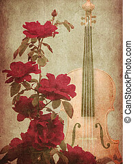 Red roses and violin - Illustration of grunge background...