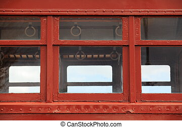 Retro Style Passenger Car - Window detail of a brown empty...