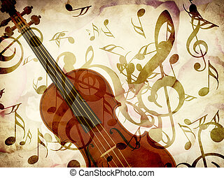Rose petals and violin - Abstract grunge rose petals, violin...
