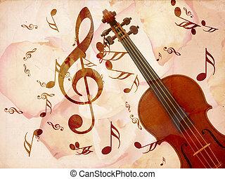 Rose petals and violin - Abstract grunge rose petals, violin...