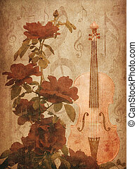 Roses and violin - Illustration of grunge background with...