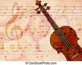 Soft grunge music background with violin - Abstract grunge...