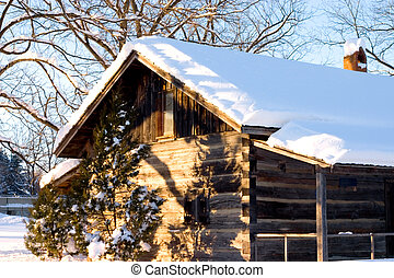 Snow Cabin - Snow covered cabin in Canada