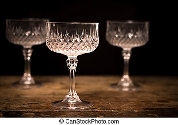 Three luxury crystal cocktail glasses