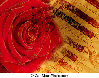 Vintage background with red rose and notes - Vintage grunge...