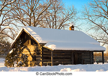 Snow Cabin In The Winter - Snow covered cabin in Canada.