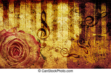 Vintage background with rose and notes - Vintage grunge...