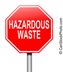 Hazardous waste concept - Illustration depicting a sign with...