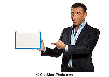 one business man holding showing whiteboard - one caucasian...
