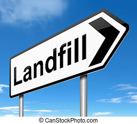 Landfill Sign. - Illustration depicting a sign with a...