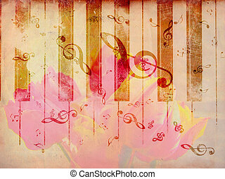 Vintage background with tulip and notes - Vintage grunge...