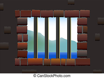 Jail Bars - Barred window of a jail, viewed from inside to...