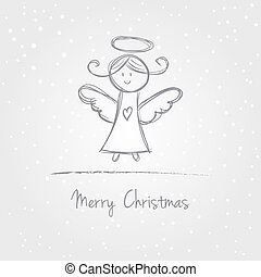 Christmas angel doodle - Illustration of christmas angel...