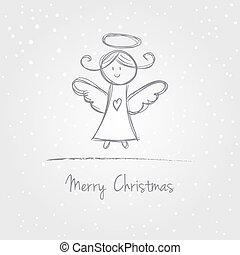 Christmas angel doodle - Illustration of christmas angel...