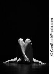 赤裸, 婦女, 矯柔造作, 地板