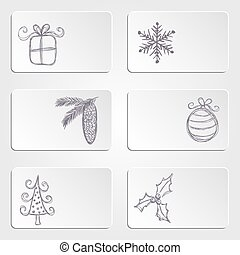 Banners with christmas doodles - Collection of banners with...