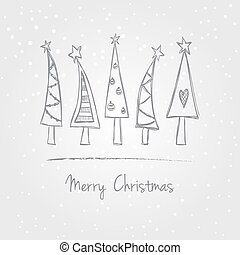 Christmas trees doodle - Illustration of christmas trees...