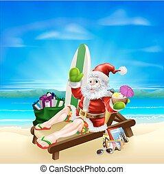Surf Summer Santa - Santa Christmas illustration. Santa...