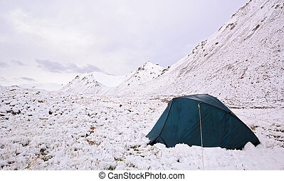 Tent in snow, the mountains of Tien Shan, Kyrgyzstan
