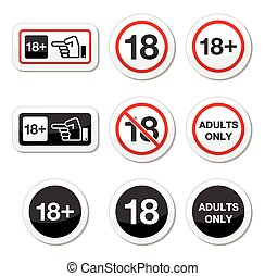 Under 18, adults only warning sign - Attention - under...