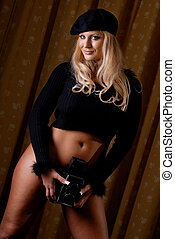 Sexy photographer - Sexy blonde posing as photographer