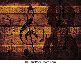 Vintage musical background with violin - Illustration of...