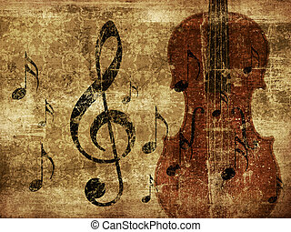Vintage musical violin background - Illustration of grunge...