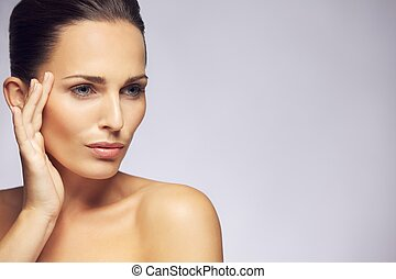 Beautiful woman with clean skin - Portrait of beautiful...