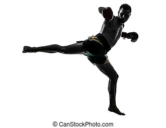one man exercising thai boxing silhouette - one caucasian...