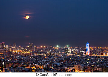 Barcelona at night with full moon, Spain - Barcelona at...