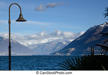 Lake with mountains - Alpine lake with snow-capped mountains...