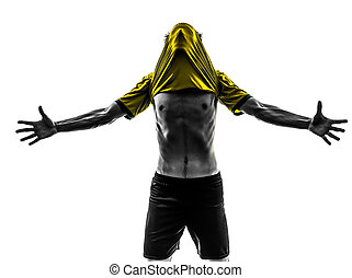 one brazilian soccer football player young man happiness joy  in silhouette studio  on white background