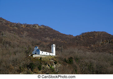 Old church on the mountain - Old white church on the...