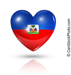 Love Haiti, heart flag icon - Love Haiti symbol. 3D heart...