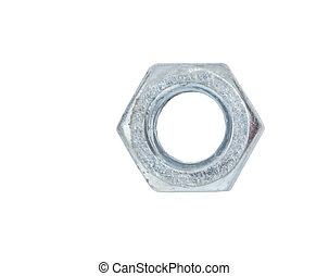 Hexagon Nut - Old hexagon nut over white background